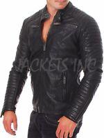 New Men Genuine Lambskin VINTAGE Leather Jacket Black Slim fit Biker Motorcycle