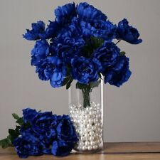 4 Royal Blue Silk Peony Bushes Wedding Party Flowers Bouquets Decorations Sale