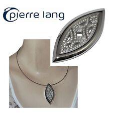 PIERRE LANG Gros pendentif plaqué argent rhodié cristal blanc bijou