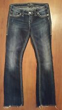 SILVER Jeans PIONEER size 26 x 30 Distressed Flap Button Pocket Stretch