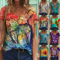 Summer Women Short Sleeve V Neck T Shirt Casual Loose Blouse Butterfly Print Top