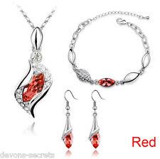 ladies silver wedding bridal gift jewellery drop dangle earring necklace set JJ3
