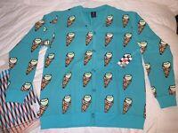 DS NWT IceCream Billionaire Boys Club BBC BAPE All Over Cone Cardigan Sweater XL
