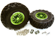 C27039GREEN 2.2x1.5-in. Alloy Wheel, Tires, 14mm OffSet Hubs for 1/10 Crawler