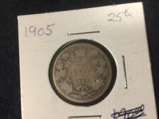 1905  Canada 25 cent, Silver Quarter.