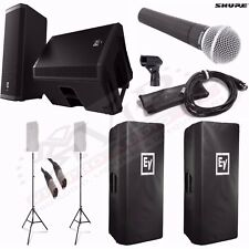 EV ZLX12P Powered Speakers + Ultimate Stands TS-100B + Shure SM58 Mic + BUNDLE