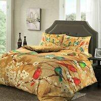 Soft Touch 100% Egyptian Cotton Satin Sateen Gold Birds Quilt Duvet Cover Set