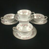 Set of 4 VTG Cups and Saucers by Noritake 5433 Dark Pink and Gray Floral Japan