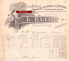 Beau Document du 18/05/1903 ELIOT Appareils éclairage chauffage - Paris 75