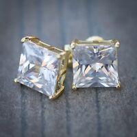 MENS LAB DIAMOND 14K YELLOW GOLD FILLED SCREW BACK HIP HOP STUD EARRINGS