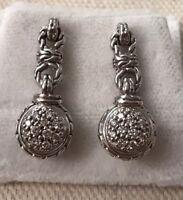 John Hardy 925/18k Pave Diamond Drop Earrings