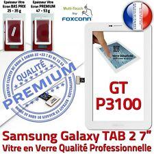 Vitre Tactile Assemblée Prémonté Samsung GT P3100 TAB2 Ecran Verre PREMIUM Blanc