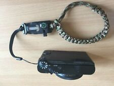 Army Green Paracord Wrist Strap with Flint Fire Start, Compass, Scraper, Whistle