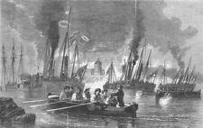 FINLAND. The Bombardment of Suomenlinna, antique print, 1856