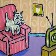 cairn terrier television animal ceramic dog art tile gift