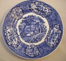 6 Rare Antique Flow Blue Unusual Pattern Transferware Impression Marked Plates