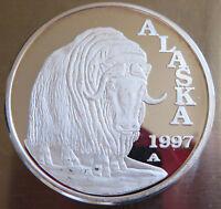 1997 ALASKA MUSKOX .999 FINE SILVER PROOF #1436 1 TROY OZ ART COMMEMORATIVE
