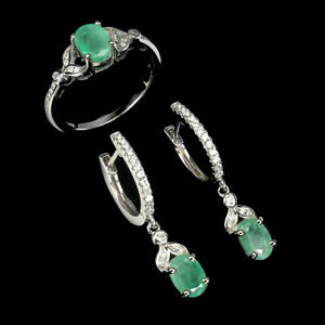 Unheated Oval Emerald 7x5mm Cz 14K White Gold Plate 925 Sterling Silver Sets