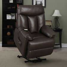 ProLounger Lya Brown Renu Leather Power Recline And Lift Wall Hugger Chair  Seat