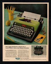 1959 ROYAL Green Electric Typewriter - Futura - Retro - Pencil - Desk VINTAGE AD