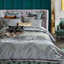 Luxury Silk Cotton Jacquard Bedding Set Duvet Cover Set Bed Sheet Pillowcases