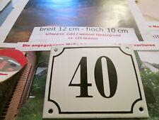 Hausnummer Emaille Nr. 40 schwarze Zahl auf weißem Hintergrund 12 cm x 10 cm