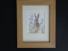 """""""HARE AND BLUEBELLS"""" A Super Framed Watercolour Painting by Sandra Mason"""