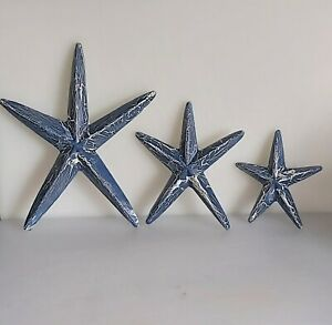 Set Of 3 Decorative Nautical Hanging Wooden Starfish hand painted