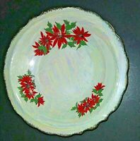 """Iridescent Poinsettia Soup Bowl 7 1/4"""" no backstamp; some scratching"""