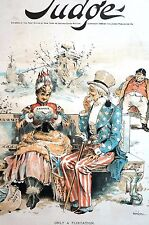 Hamilton 1889 Uncle Sam Flirting w Canada FREE TRADE DEBT U.S. SURPLUS Cover Art