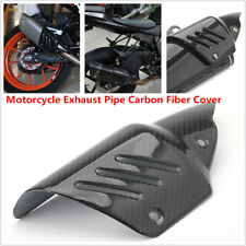 Motorcycle Exhaust Pipe Carbon Fiber Cover Protect Heat Shield Anti-scald Guard