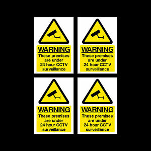 CCTV Sign, Sticker Pack of 4 - 100mm x 150mm (A6) - Security, Camera - (MISC12)