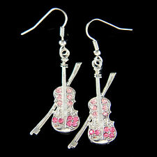 w Swarovski Crystal ~Pink Violin Fiddle Viola Cello Music Musical Charm Earrings