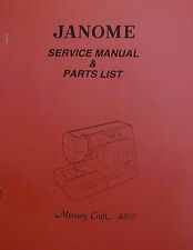 Janome Memory Craft 4800 Sewing Machine Service Manual And Parts List