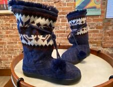 MUK LUKS Gracie Navy Blue Tall Slippers Boot Faux Fur Poms New