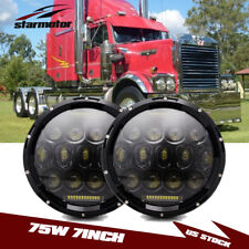 "Pair 75W 7"" INCH LED Headlight Sealed Hi/Lo Beam DRL FIT Western Star Heritage"
