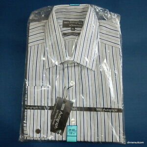 """NEW mens 15.5"""" M&S Timothy Everest Shirt Grey Stripe - Pure Cotton / Double Cuff"""