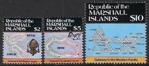 Marshall Islands 1986 Map Types of 1984 - High Values, MNH, Sc #107-9 - cw71.5