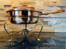 Tagus Portugal Brass Copper Tin Chafing Dish Food Warmer Buffet Stand & Burner