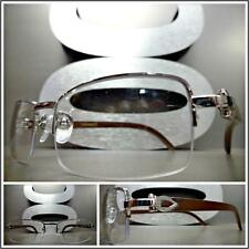 Men's CLASSY READING EYE GLASSES READERS Silver Wood Wooden Fashion Frame +2.50