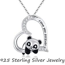 Pretty Girl 925 Silver 'I Love You' Heart Panda Pendant Necklace Jewelry Gifts