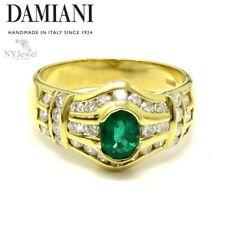 NYJEWEL Damiani 18k Yellow Gold 1.17ctw Emerald Diamond Ring