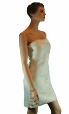 Ladies Cream Satin Strapless Evening Cocktail Formal Wedding Mini Dress Size 12