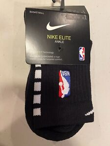 Nike Elite Ankle Length Sock With NBA Logo - Black With White Size Small
