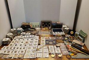 HUGE COIN LOT SILVER COINS sterling watches NOTES MORGANS & more estate lot