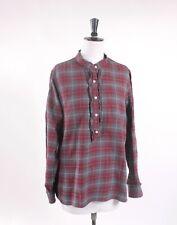Lands End Flannel Brushed Cotton Tartan Long Sleeve Shirt Frill Retro Mod Size L
