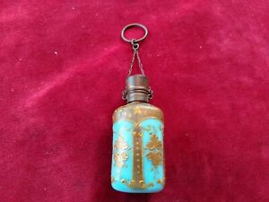 Antique Bohemian Moser? Turquoise Glass Chatelaine Perfume Bottle