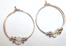 Baby Child Girl Hoop Earrings: Crystal AB & STERLING SILVER Made with Swarovski