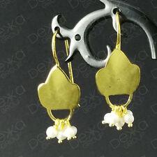 18K Gold  on 925 Sterling Silver Flower Teardrop Earrings Freshwater Pearls