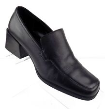 Bass Womens Shoes Size 7M Black Slip On Leather Chunk Heels Square Toe